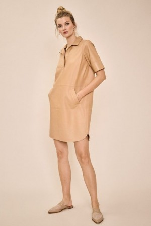 Mos Mosh New sand 'Ester Leather Dress' skinnkjole