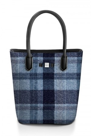 Save My Bag Wool blue rutet 'Postar' shopper