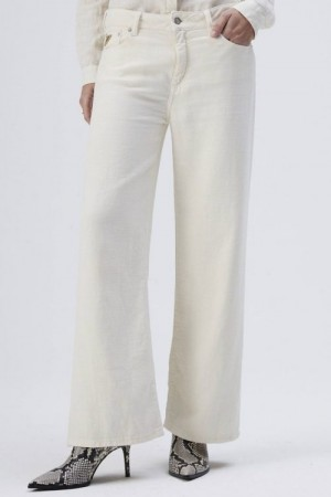 Lois Star white 'Flow new Culotte' cropped canvas-lin vid bukse