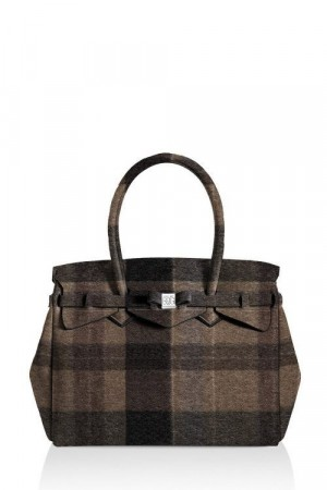 Save My Bag Wool brown rutet 'Petite Miss' veske