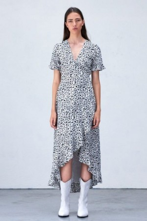 Alix The Label Sorthvit 'Striped Leopard' lang kjole