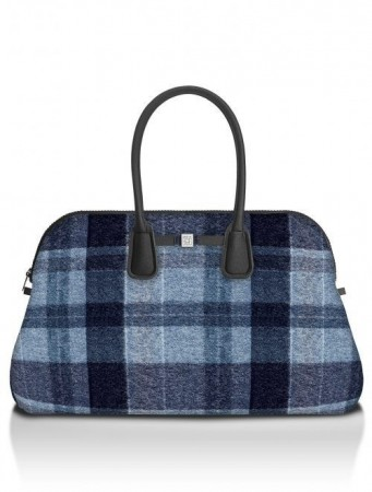Save My Bag Wool blue rutet 'Principe' weekendbag