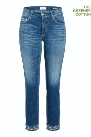 Cambio 'Paris Cropped' jeans med broderikant