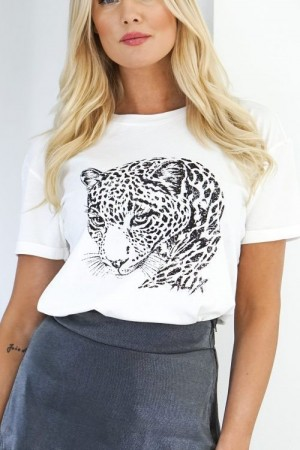 Alix The Label hvit t-shirt med tigerprint