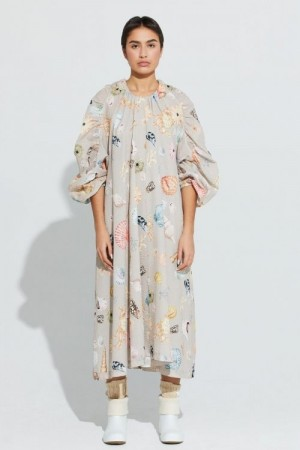 Ilag Grey shell print 'Mellomholmene Dress' oversized maxikjole