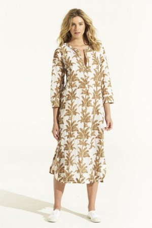 One Season Hvit med gull print 'Cruise Dress Palma' ledig bomullskjole