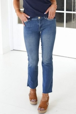 Mos Mosh 'Ashley Braid' supermyk cropped flare jeans med flettepynt og råkant