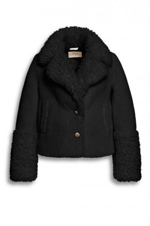 Beaumont Sort faux fur saueskinnjakke
