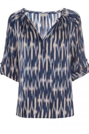 Hvit Blå og rosa mønstret Silketopp fra Kudibal Silkeskjorter