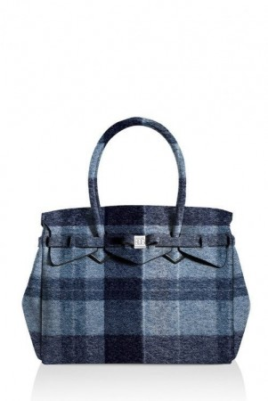 Save My Bag Wool blue rutet 'Petite Miss' veske